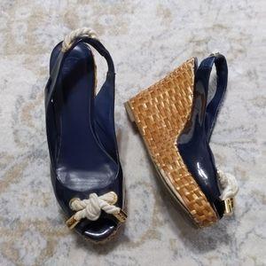 Tory Burch Basket Weave Wedge Sandal